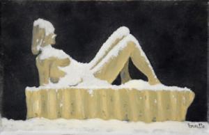 La statue sous la neige 22 x14 V
